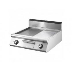 Elektrisk grill, bordsmodell, ½ slät, ½ räfflad plåt