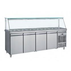 Frost - Saladette Med Glasdisplay 4 Dörrar 7 St Gn1/1 239Cm