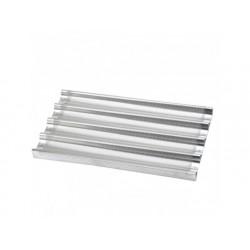 Perforerade aluminiumbricka med 4 kanaler och support, gn...