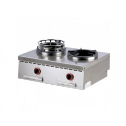 Gas wok spis, bänkmodell, 2 brännare