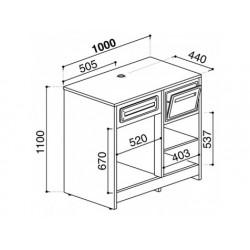 Balkylbänk för kaffemaskiner i rostfritt stål, 1000x600 mm