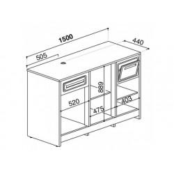 Balkylbänk för kaffemaskiner i rostfritt stål, 1500x600 mm