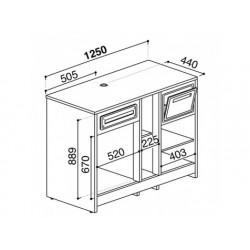 Balkylbänk för kaffemaskiner i rostfritt stål, 1200x700 mm