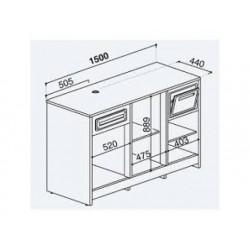 Balkylbänk för kaffemaskiner i rostfritt stål, 1500x700 mm
