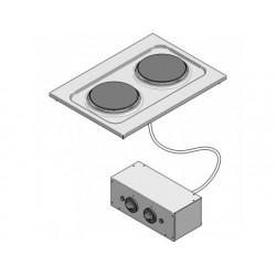 Drop-in elektrisk kokplatta, 2 plattor