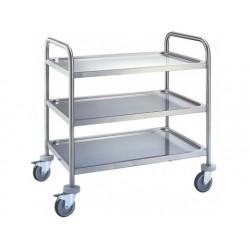 Servicekärran i rostfritt stål med 3 nivåer 780x430 mm