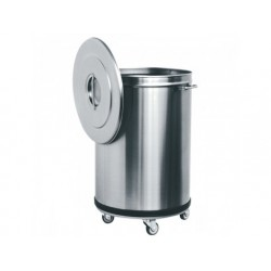Avfallskantin i rostfritt stål på hjul, 50 liter