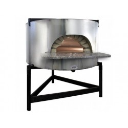 Vedeldad pizzaugn med rostfritt stål fasad, bäddplatta ø...