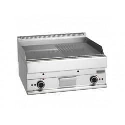 Elektrisk grill, bänkmodell, slät och räfflad kromad platta