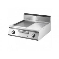 Elektrisk grill, bordsmodell, ½ slät, ½ räfflad kromad...